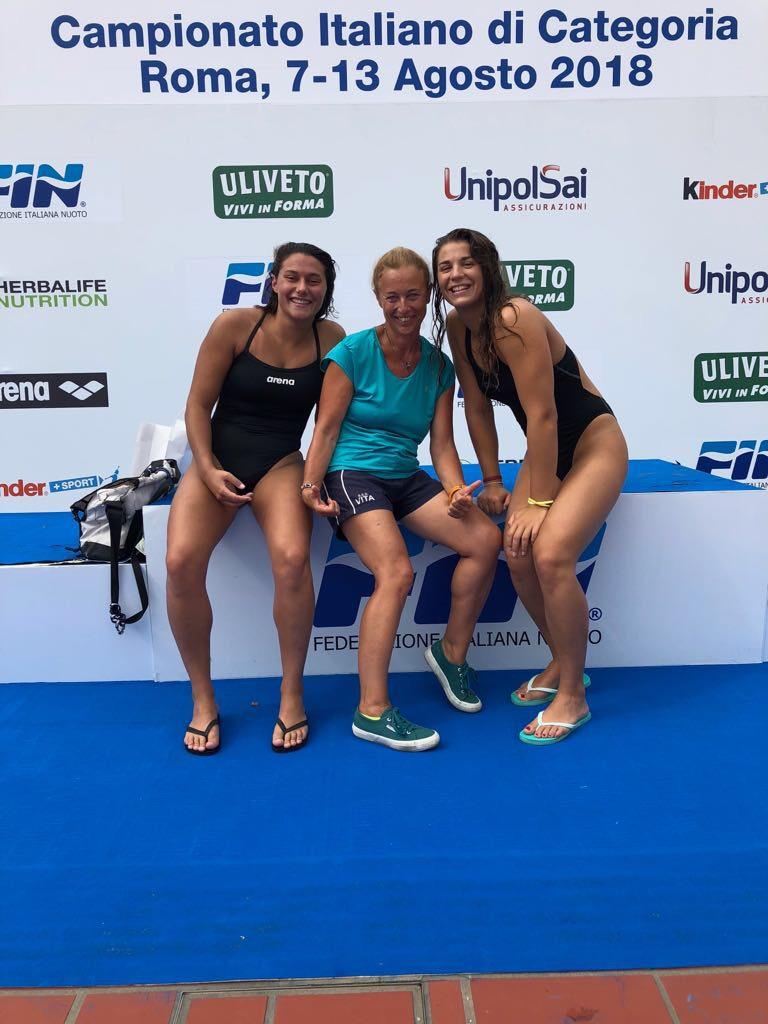 Benedetta e Vanessa con la loro allenatrice Ippolita Stinchelli